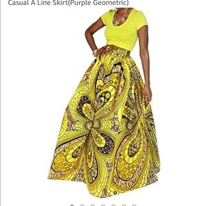 African inspired print floral A line skirt